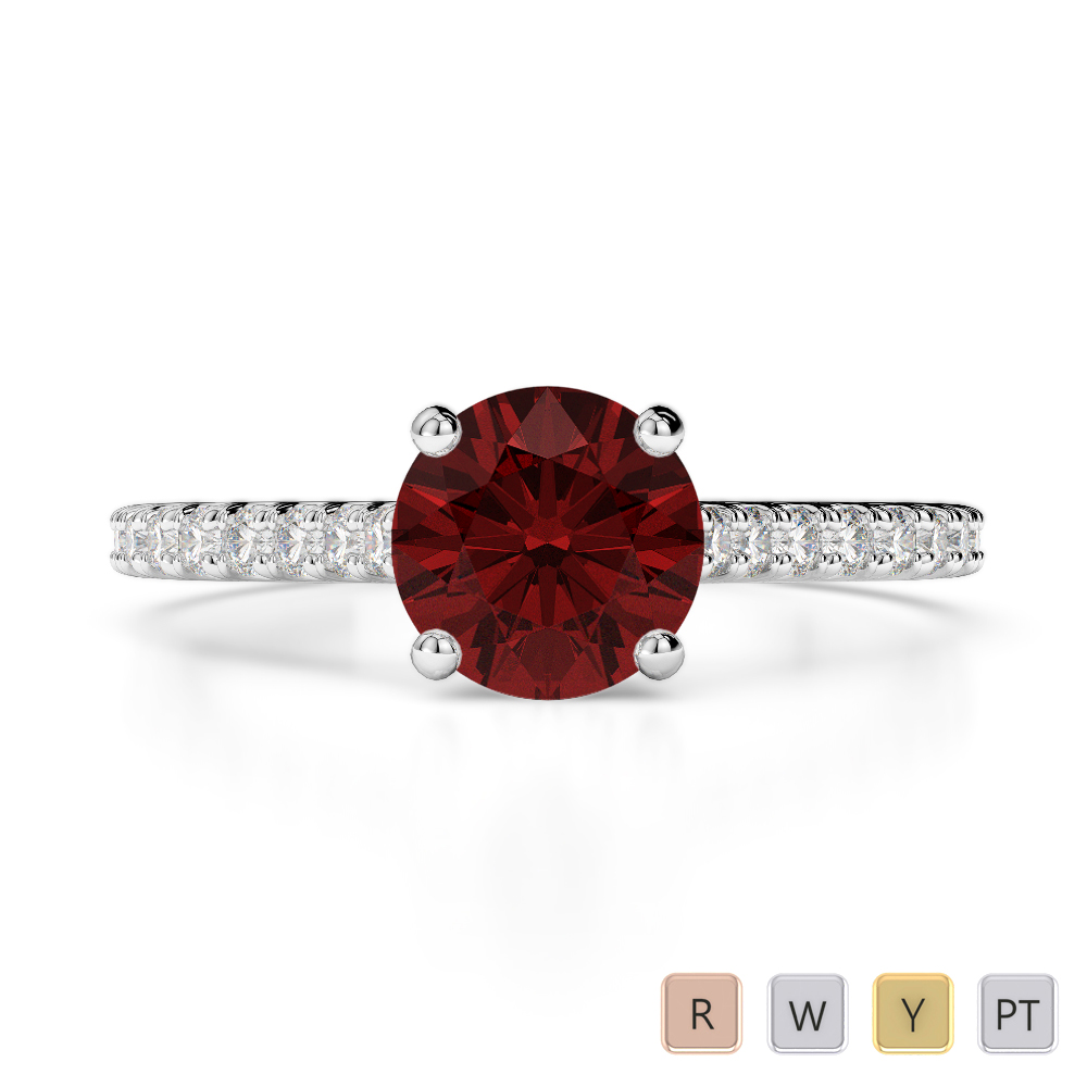 Gold / Platinum Round Cut Garnet and Diamond Engagement Ring AGDR-1213