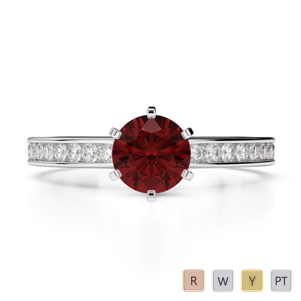 Gold / Platinum Round Cut Garnet and Diamond Engagement Ring AGDR-1214