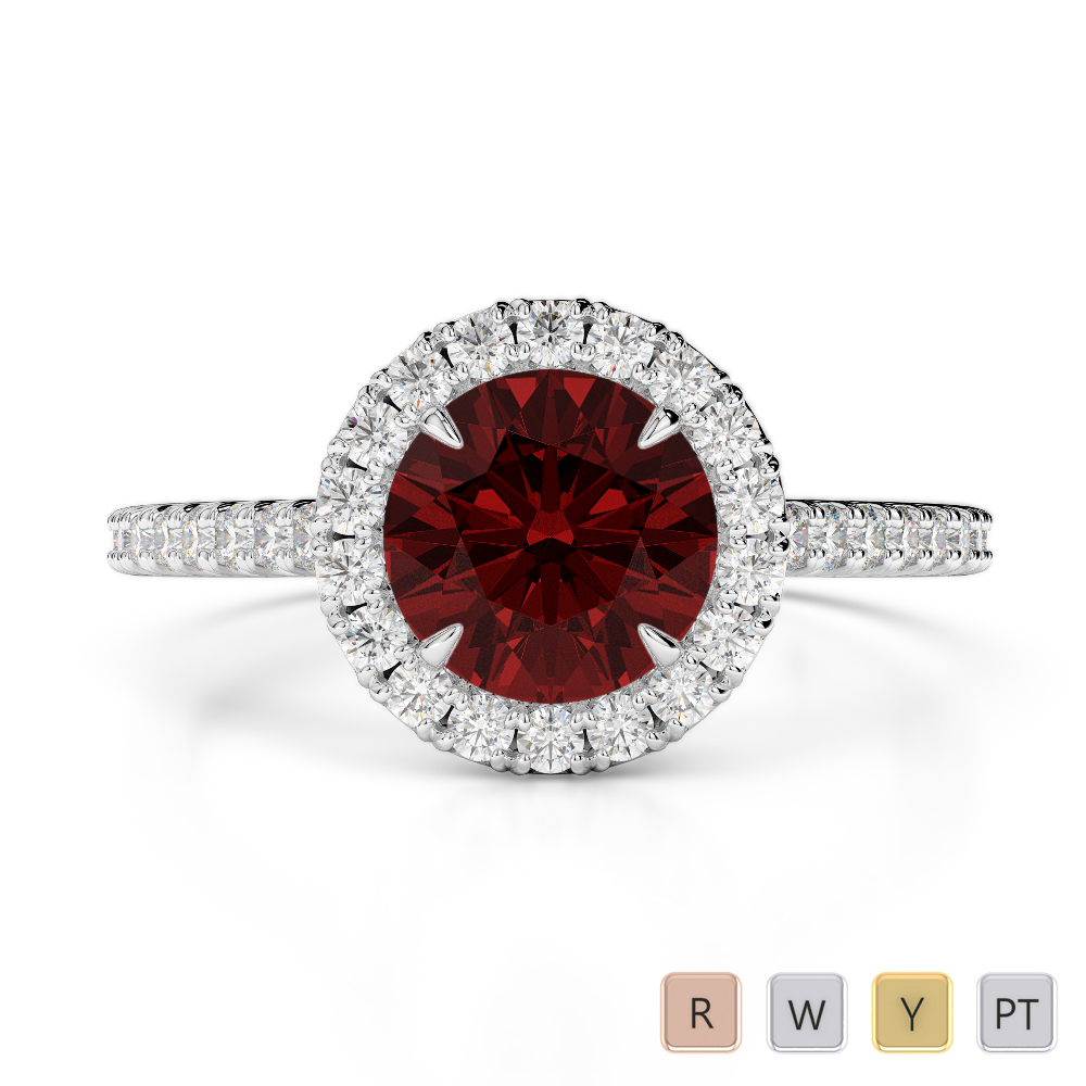 Gold / Platinum Round Cut Garnet and Diamond Engagement Ring AGDR-1215