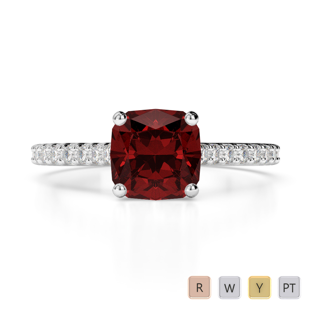 Gold / Platinum Round and Cushion Cut Garnet and Diamond Engagement Ring AGDR-1216