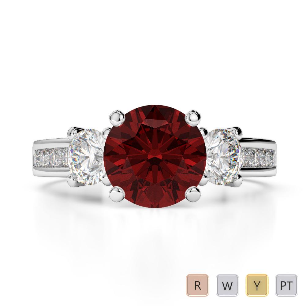 Gold / Platinum Round Cut Garnet and Diamond Engagement Ring AGDR-1218