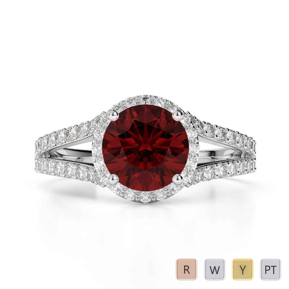 Gold / Platinum Round Cut Garnet and Diamond Engagement Ring AGDR-1220