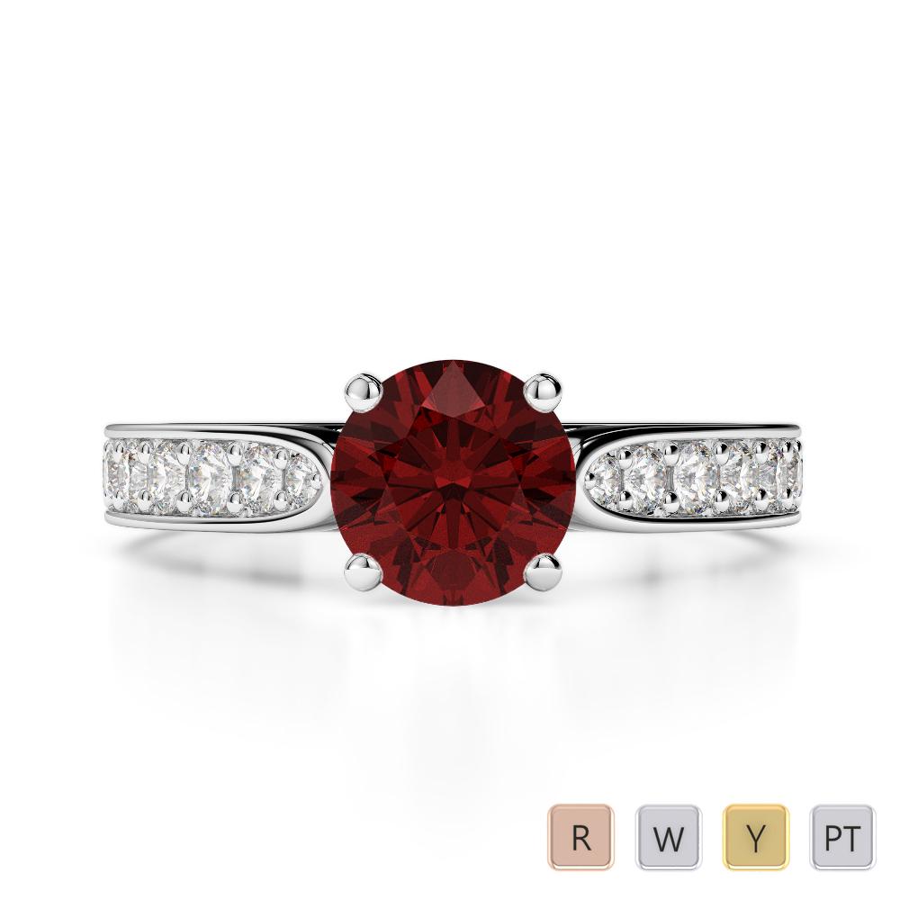 Gold / Platinum Round Cut Garnet and Diamond Engagement Ring AGDR-1221
