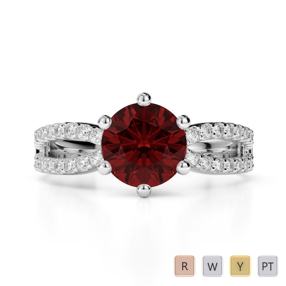 Gold / Platinum Round Cut Garnet and Diamond Engagement Ring AGDR-1223
