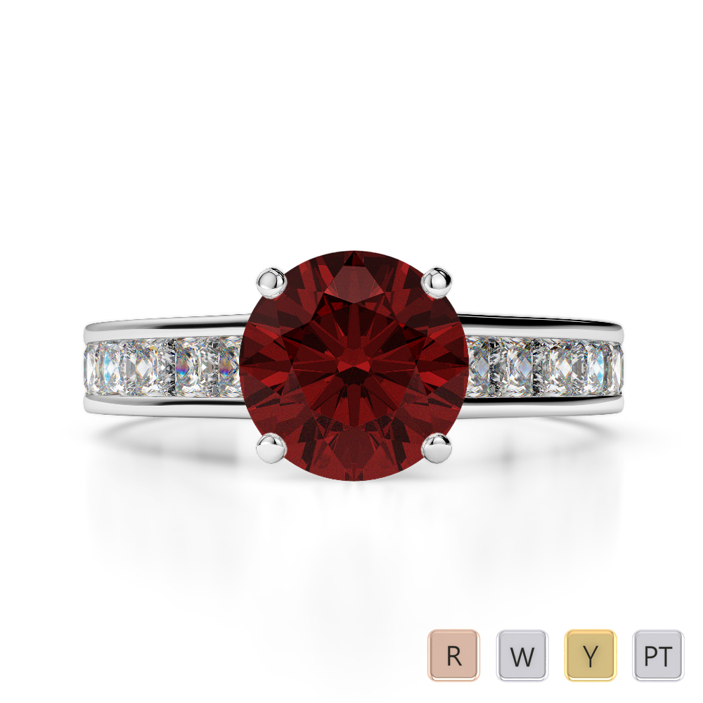 Gold / Platinum Round and Princess Cut Garnet and Diamond Engagement Ring AGDR-1224