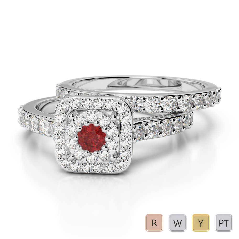Gold / Platinum Round cut Garnet and Diamond Bridal Set Ring AGDR-1246