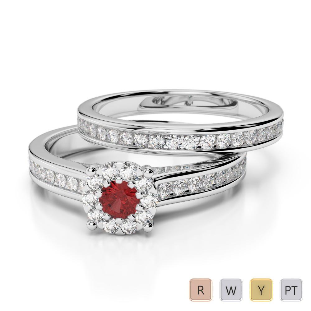 Gold / Platinum Round cut Garnet and Diamond Bridal Set Ring AGDR-1339