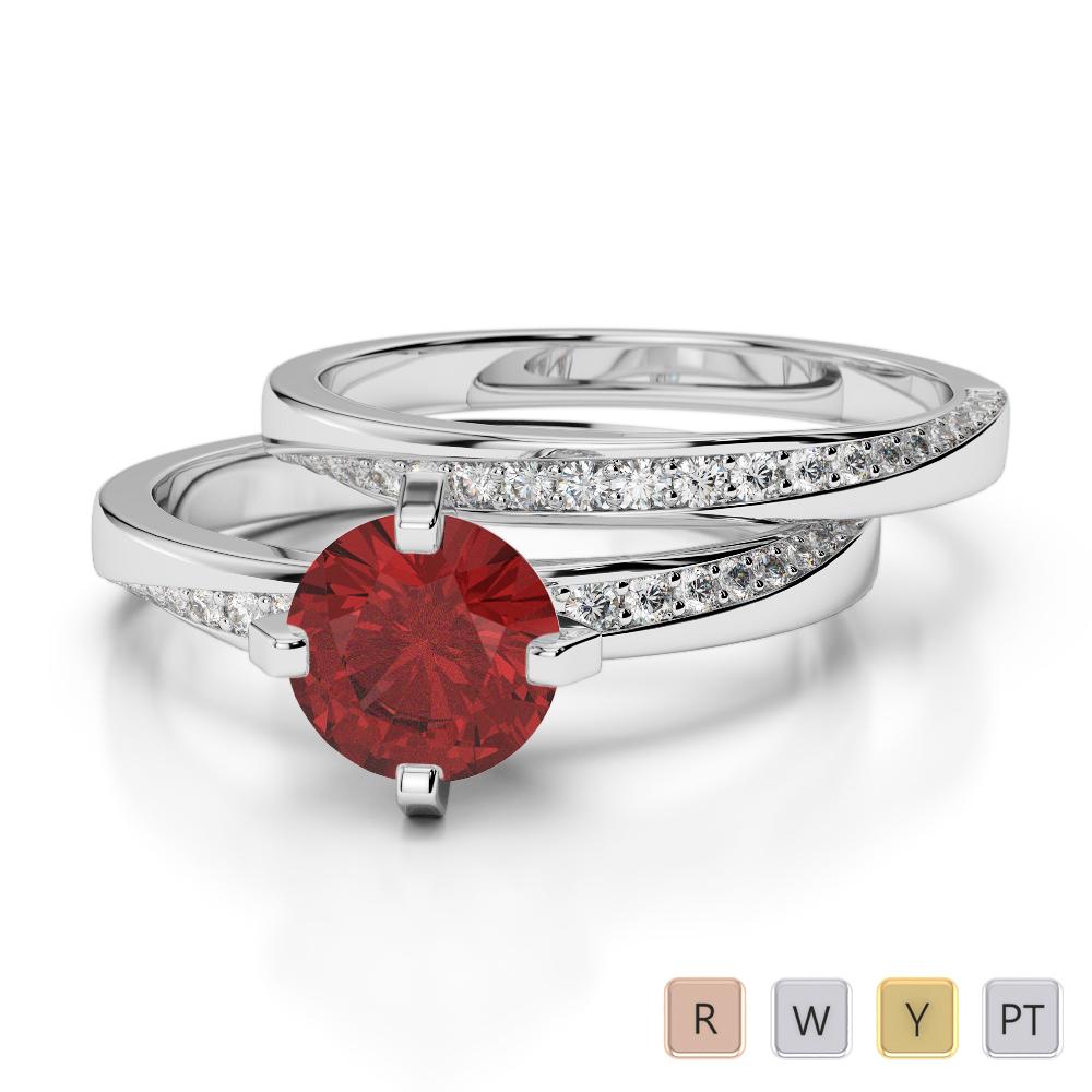 Gold / Platinum Round cut Garnet and Diamond Bridal Set Ring AGDR-2001