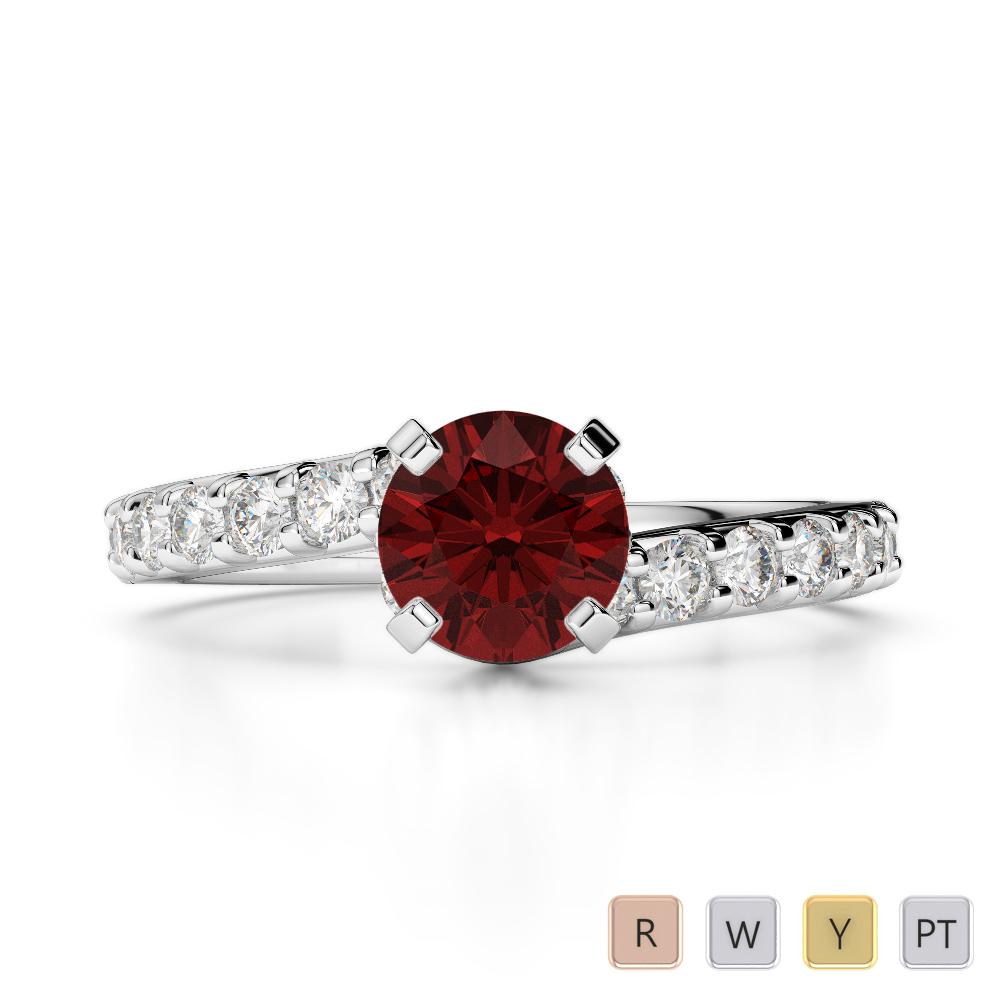 Gold / Platinum Round Cut Garnet and Diamond Engagement Ring AGDR-2004