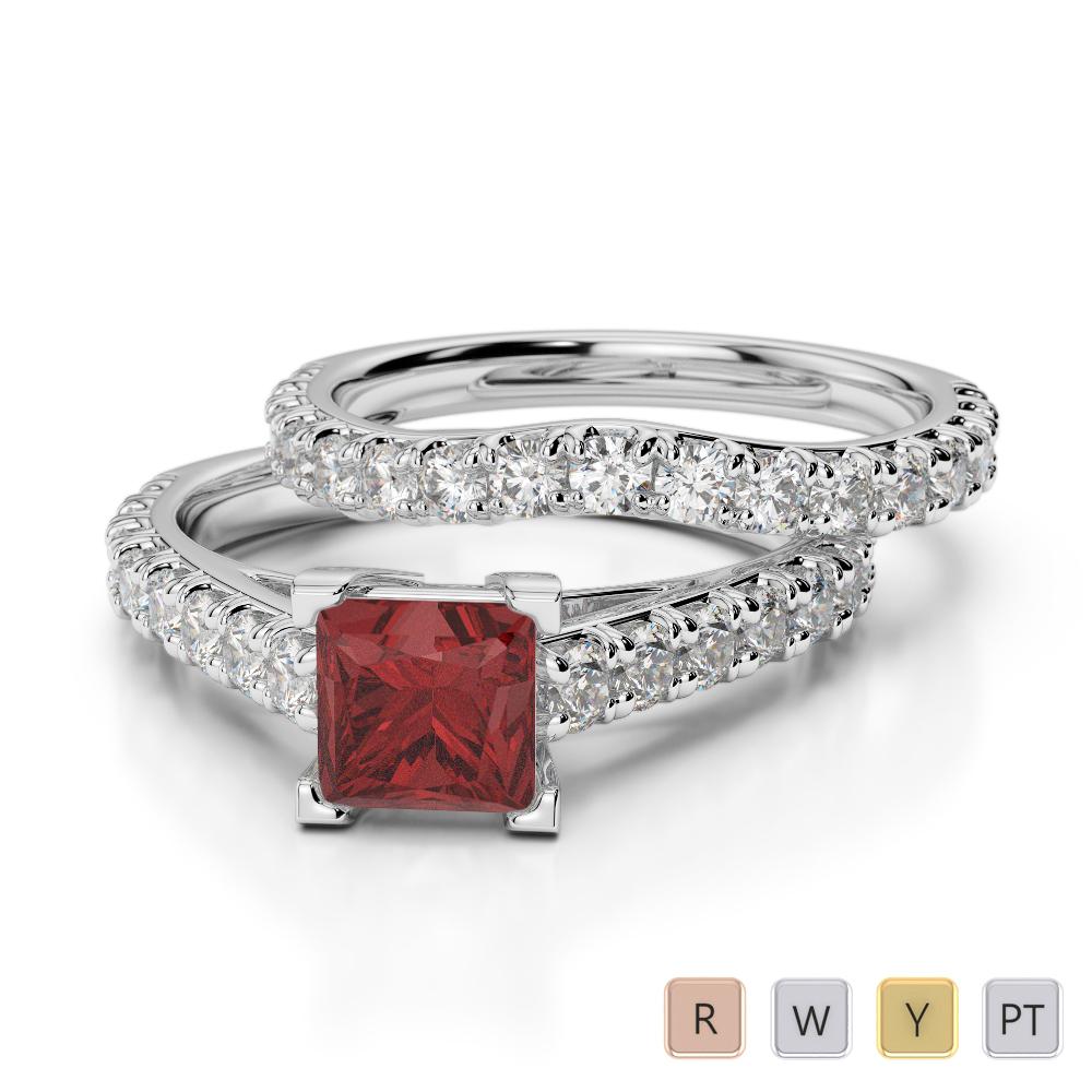 Gold / Platinum Round cut Garnet and Diamond Bridal Set Ring AGDR-2007