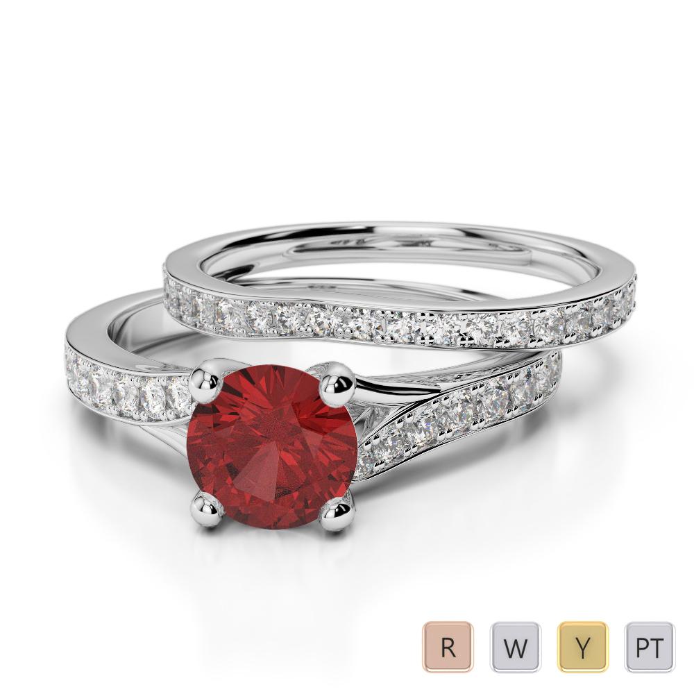 Gold / Platinum Round cut Garnet and Diamond Bridal Set Ring AGDR-2011
