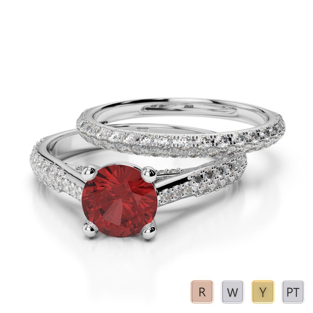 Gold / Platinum Round cut Garnet and Diamond Bridal Set Ring AGDR-2013