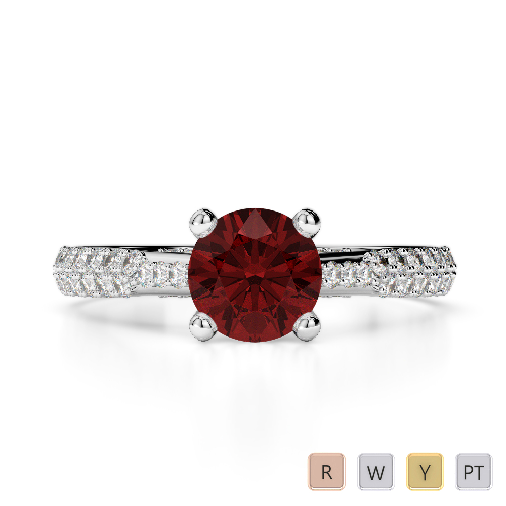 Gold / Platinum Round Cut Garnet and Diamond Engagement Ring AGDR-2014