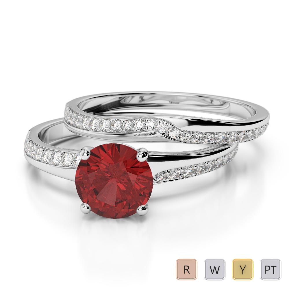 Gold / Platinum Round cut Garnet and Diamond Bridal Set Ring AGDR-2015