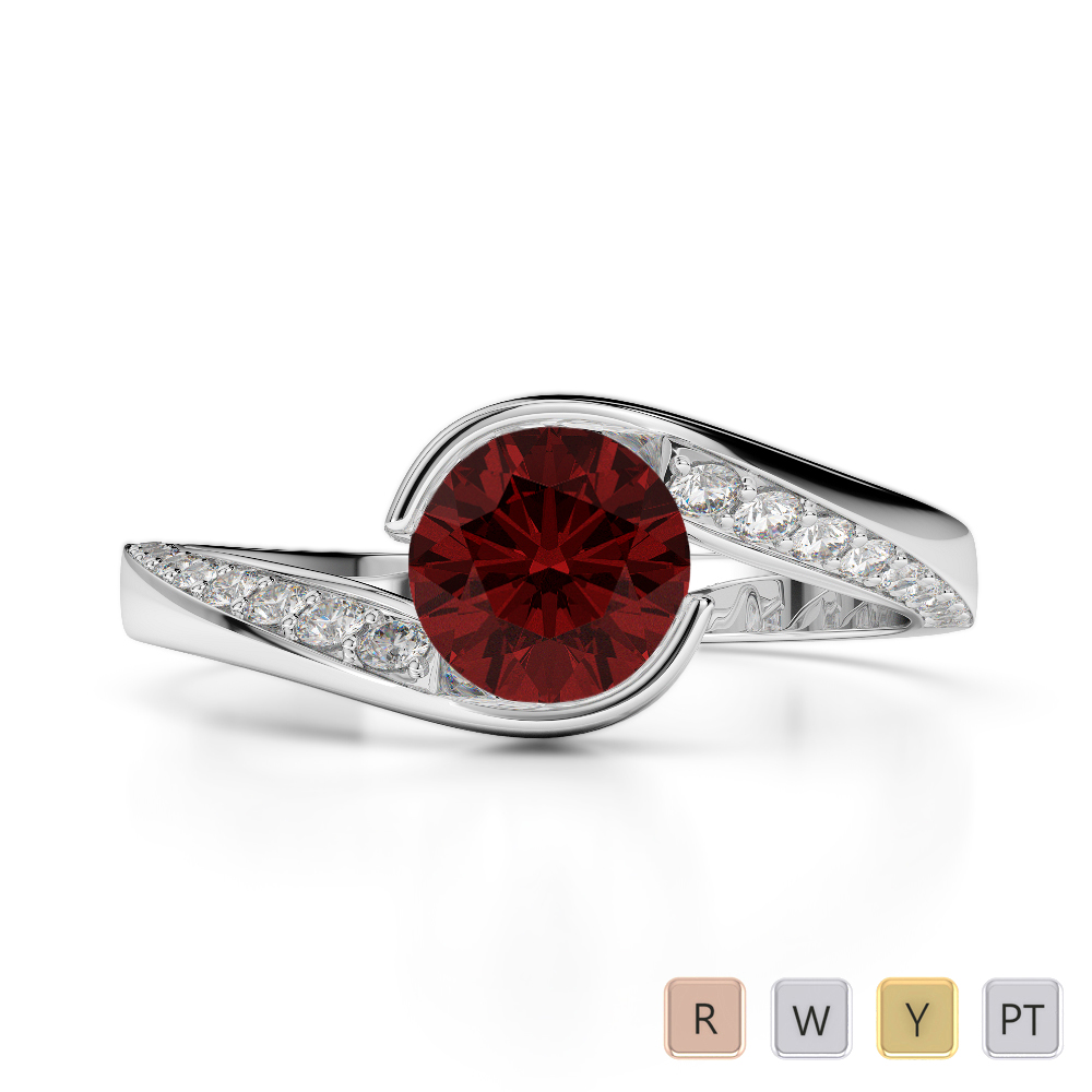 Gold / Platinum Round Cut Garnet and Diamond Engagement Ring AGDR-2020