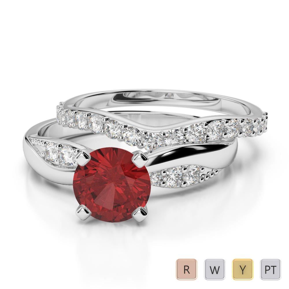 Gold / Platinum Round cut Garnet and Diamond Bridal Set Ring AGDR-2023