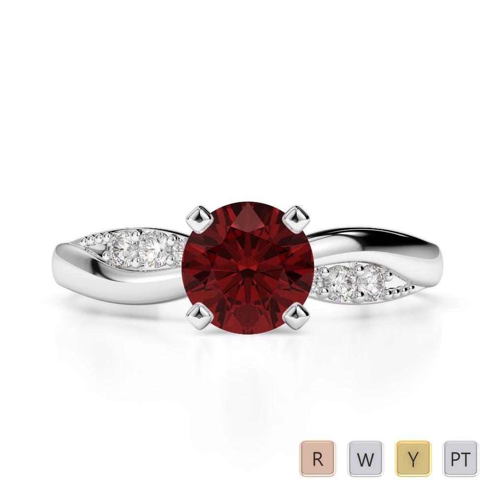 Gold / Platinum Round Cut Garnet and Diamond Engagement Ring AGDR-2024
