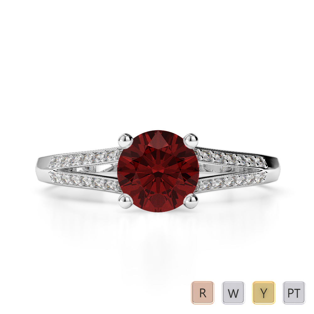 Gold / Platinum Round Cut Garnet and Diamond Engagement Ring AGDR-2038
