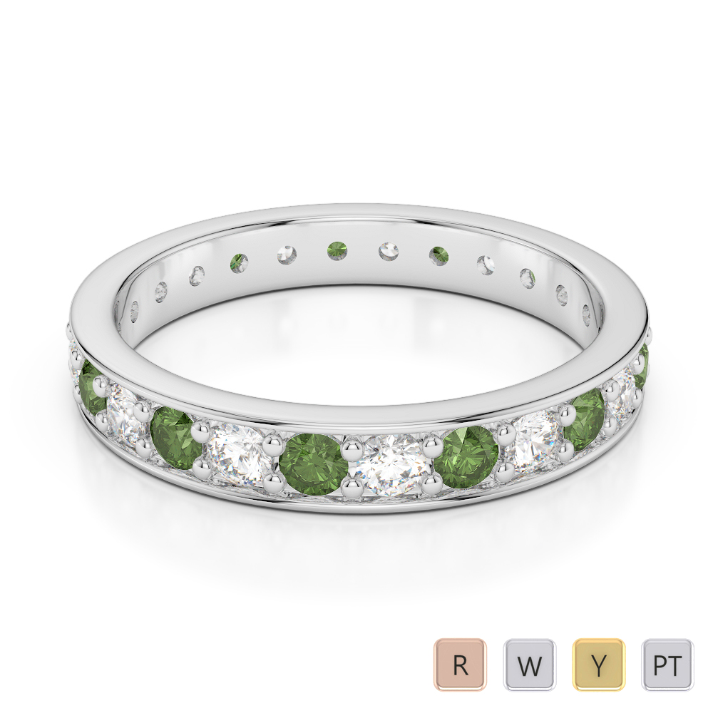 3 MM Gold / Platinum Round Cut Green Tourmaline and Diamond Full Eternity Ring AGDR-1080