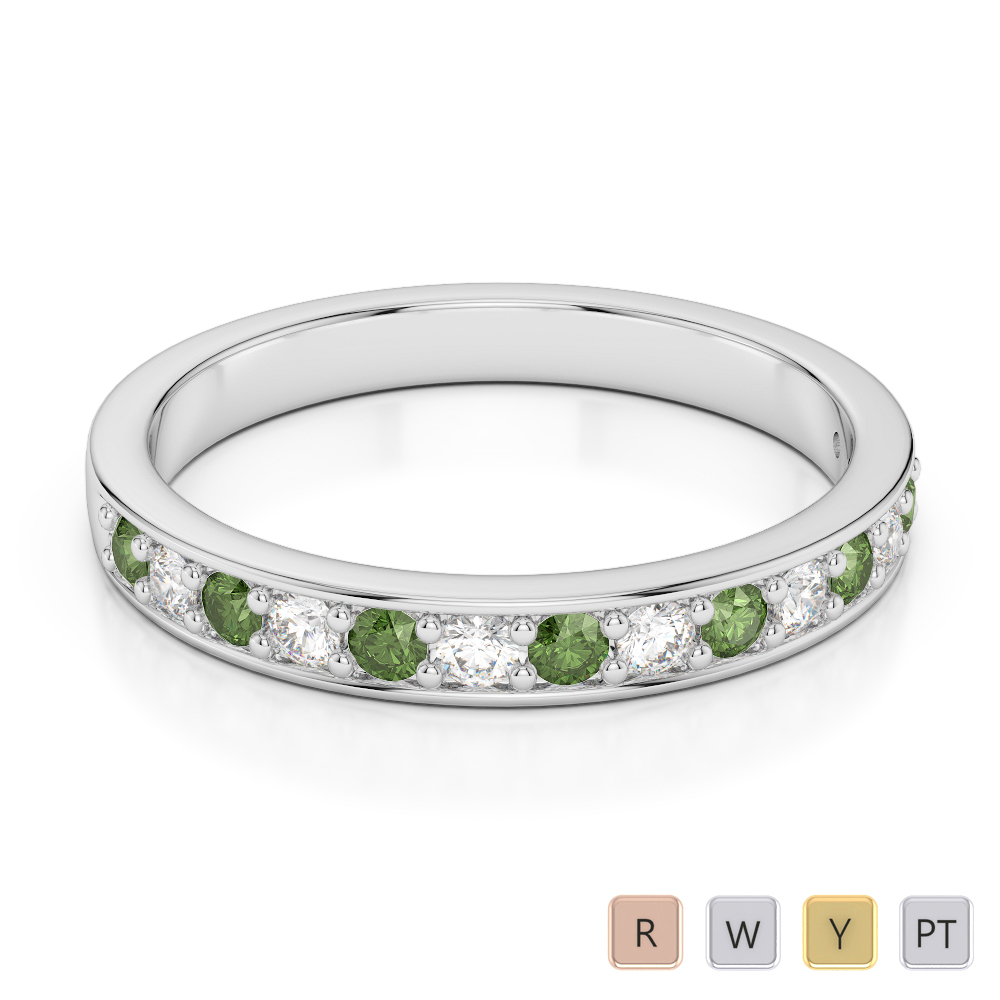 2.5 MM Gold / Platinum Round Cut Green Tourmaline and Diamond Half Eternity Ring AGDR-1083