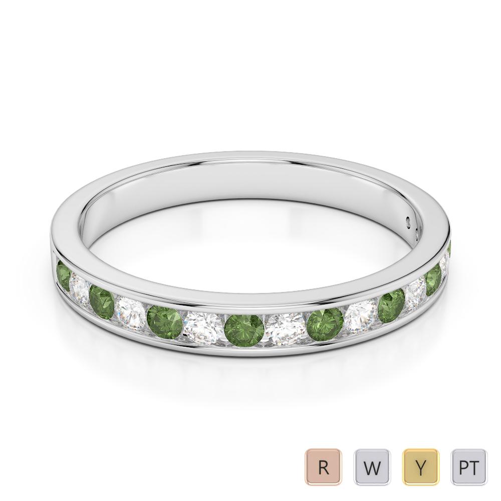 3 MM Gold / Platinum Round Cut Green Tourmaline and Diamond Half Eternity Ring AGDR-1090