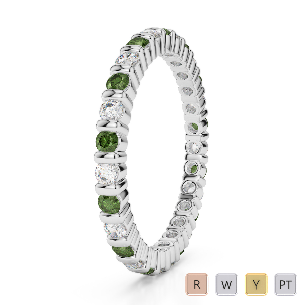 2 MM Gold / Platinum Round Cut Green Tourmaline and Diamond Full Eternity Ring AGDR-1092