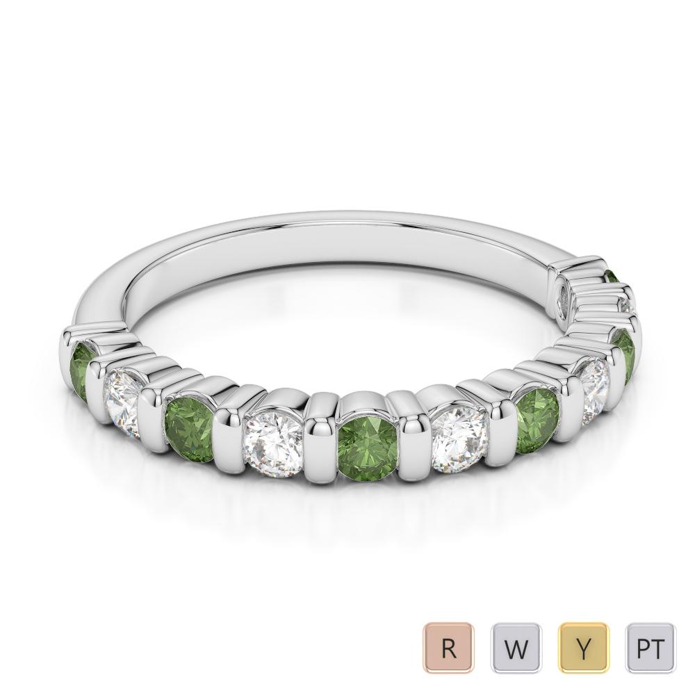 2.5 MM Gold / Platinum Round Cut Green Tourmaline and Diamond Half Eternity Ring AGDR-1096