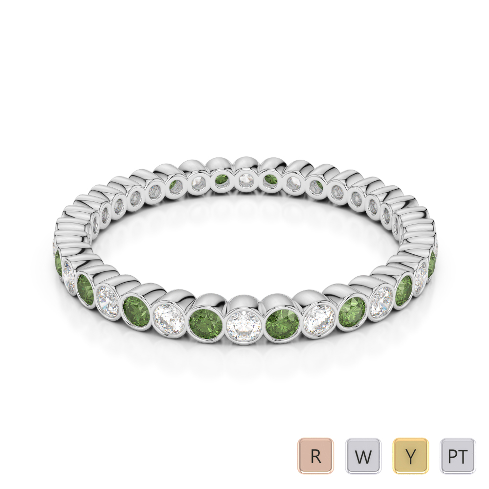2 MM Gold / Platinum Round Cut Green Tourmaline and Diamond Full Eternity Ring AGDR-1098