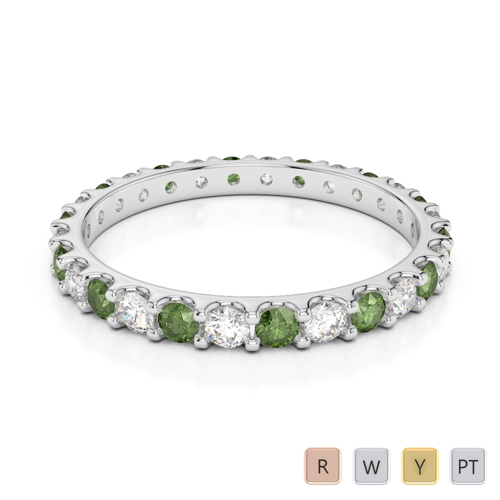 2 MM Gold / Platinum Round Cut Green Tourmaline and Diamond Full Eternity Ring AGDR-1104