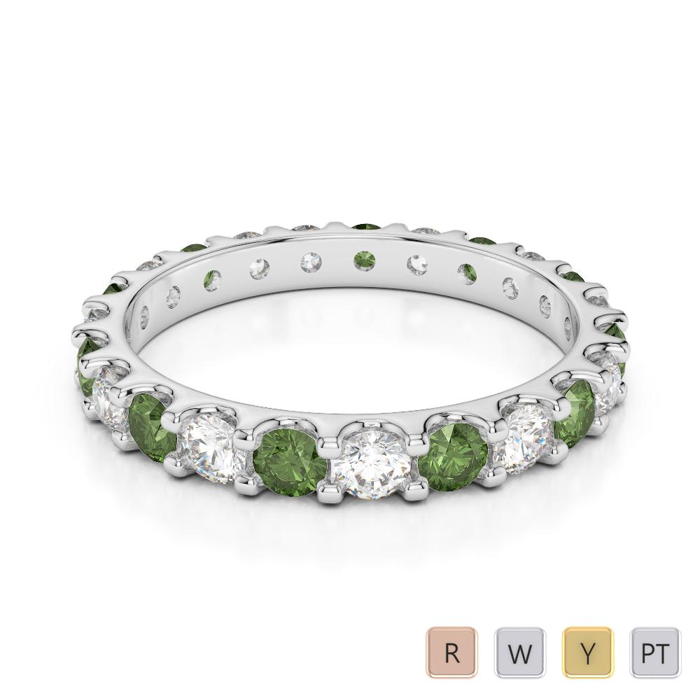 2.5 MM Gold / Platinum Round Cut Green Tourmaline and Diamond Full Eternity Ring AGDR-1105
