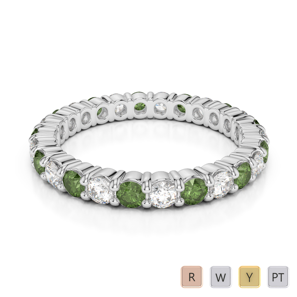 2.5 MM Gold / Platinum Round Cut Green Tourmaline and Diamond Full Eternity Ring AGDR-1111