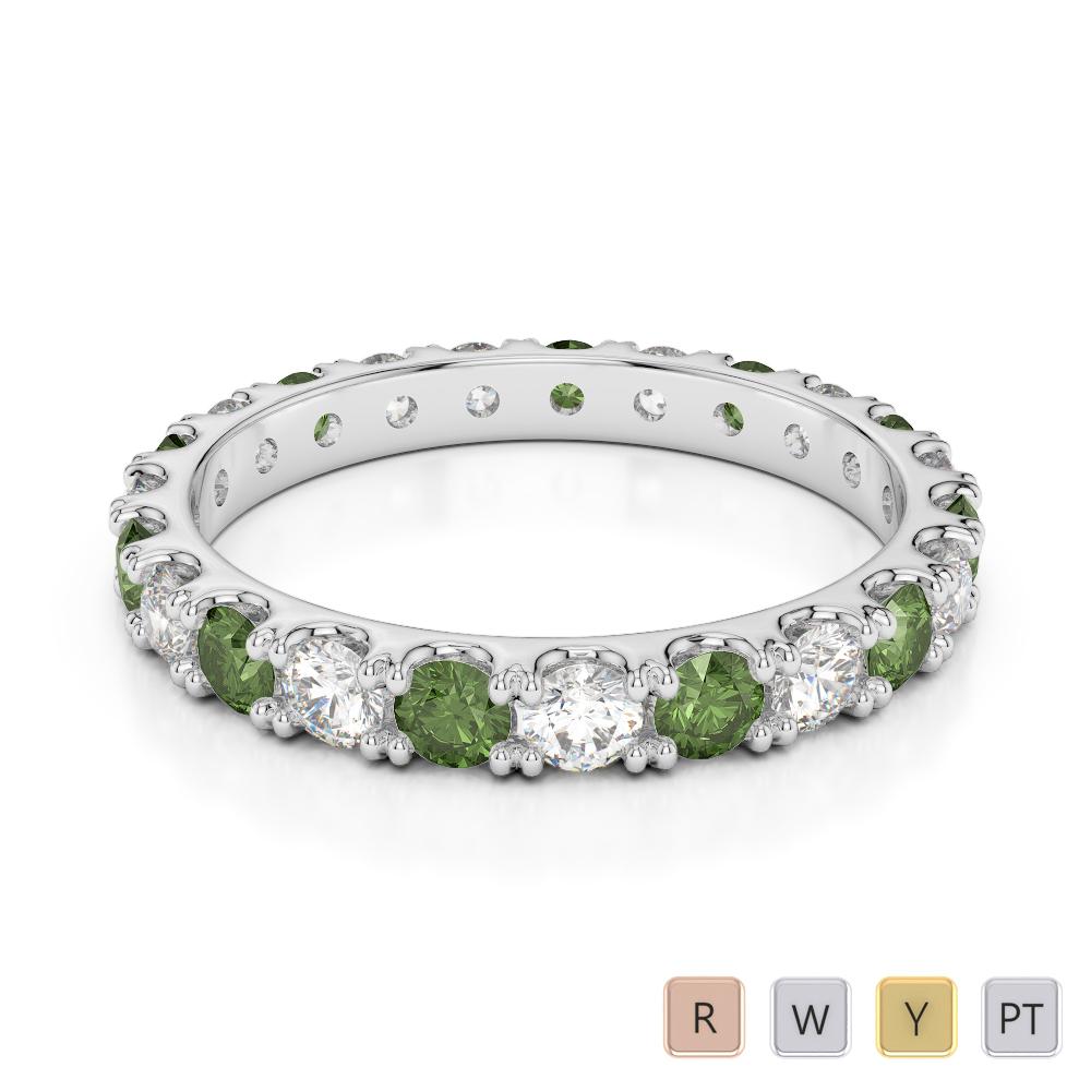 2.5 MM Gold / Platinum Round Cut Green Tourmaline and Diamond Full Eternity Ring AGDR-1121