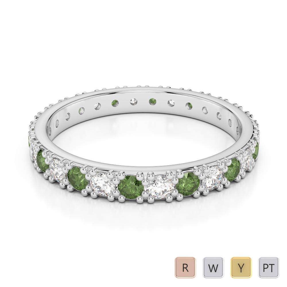 2.5 MM Gold / Platinum Round Cut Green Tourmaline and Diamond Full Eternity Ring AGDR-1127