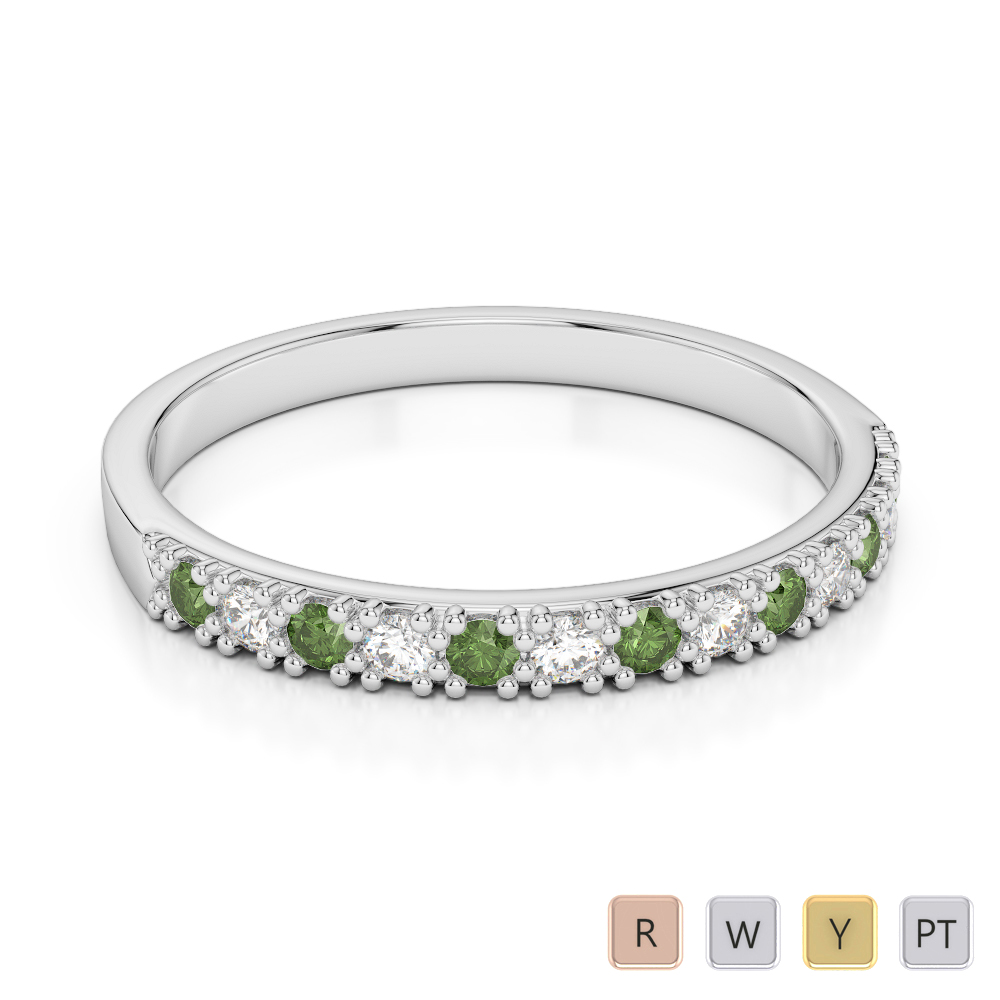 2.5 MM Gold / Platinum Round Cut Green Tourmaline and Diamond Half Eternity Ring AGDR-1129