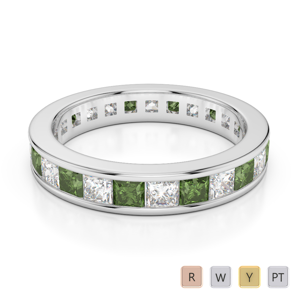 4 MM Gold / Platinum Princess Cut Green Tourmaline and Diamond Full Eternity Ring AGDR-1134