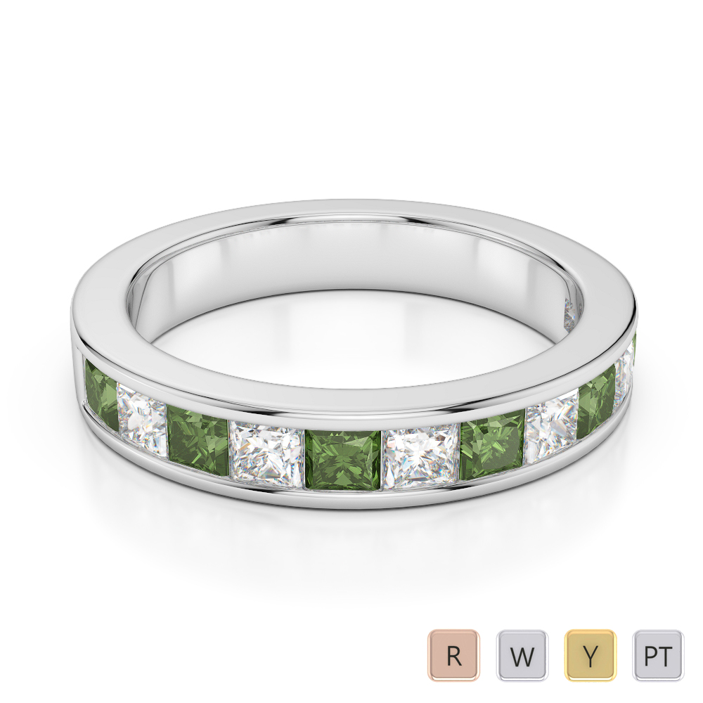 4 MM Gold / Platinum Princess Cut Green Tourmaline and Diamond Half Eternity Ring AGDR-1137