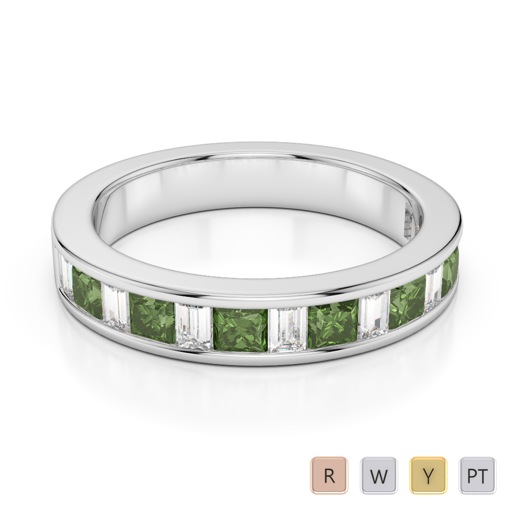 4 MM Gold / Platinum Princess and Baguette Cut Green Tourmaline and Diamond Half Eternity Ring AGDR-1143