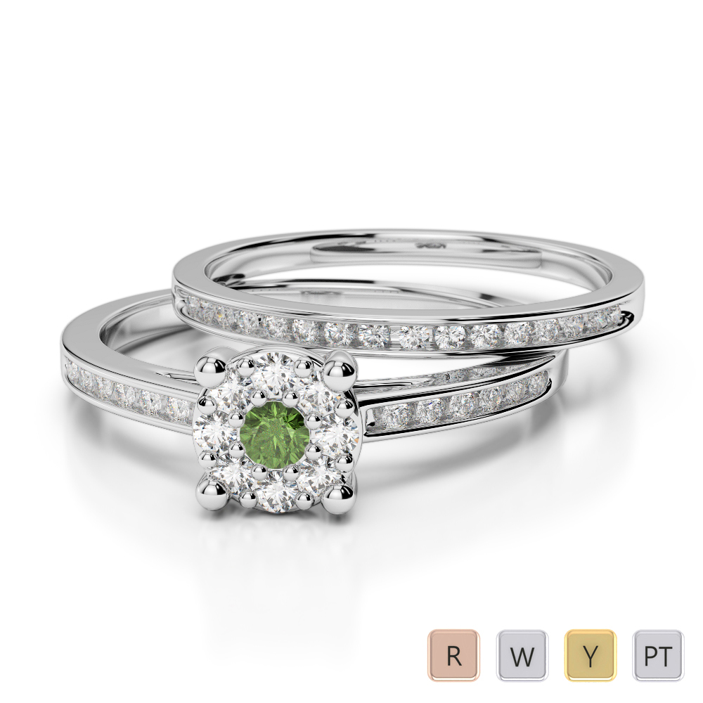 Gold / Platinum Round cut Green Tourmaline and Diamond Bridal Set Ring AGDR-1052