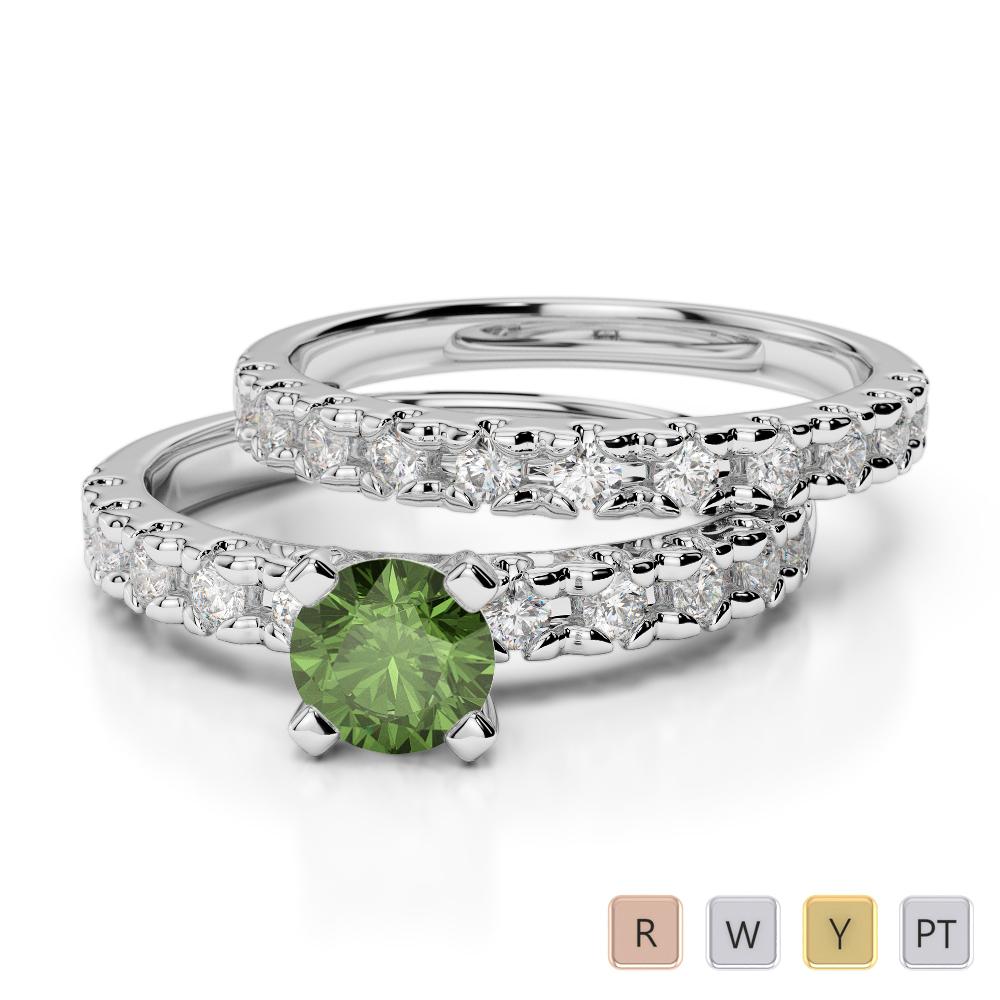 Gold / Platinum Round cut Green Tourmaline and Diamond Bridal Set Ring AGDR-1144