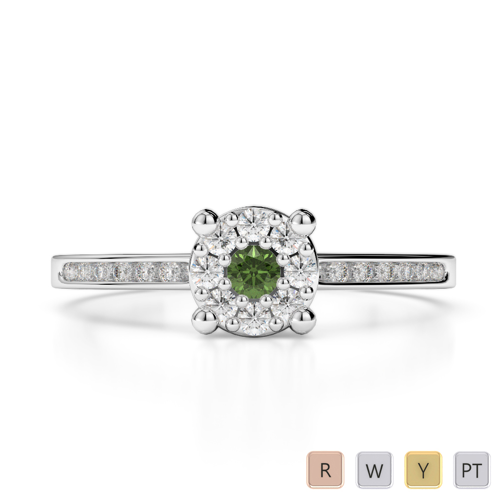 Gold / Platinum Round Cut Green Tourmaline and Diamond Engagement Ring AGDR-1163