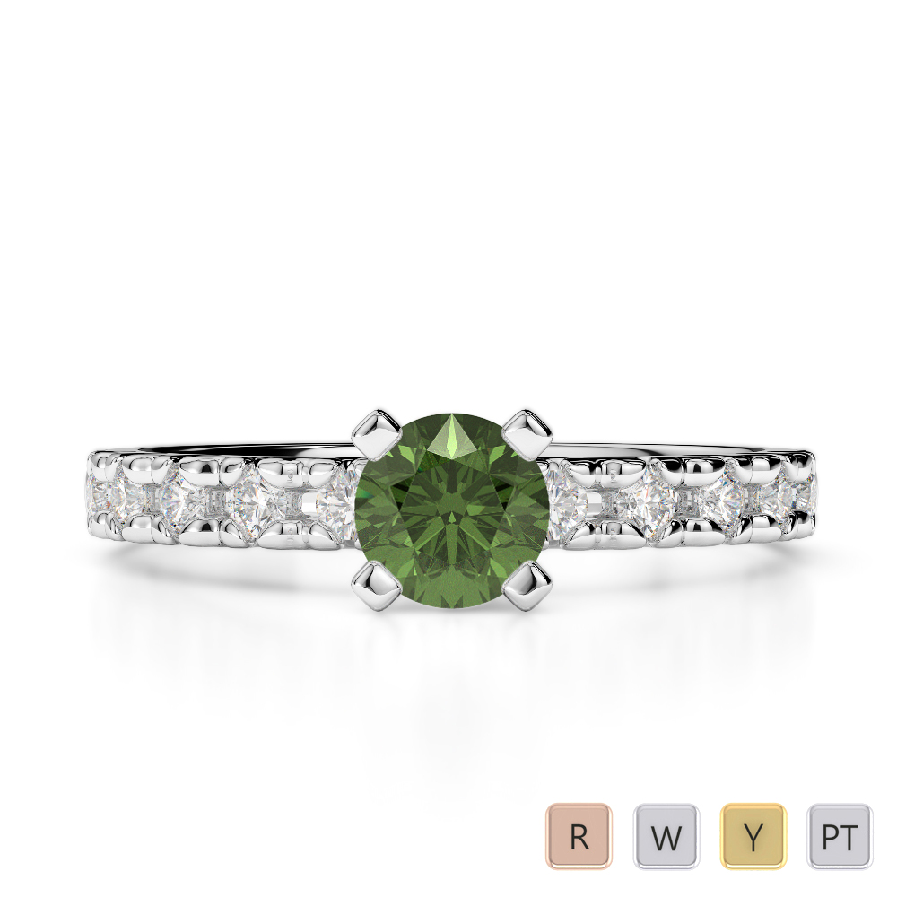 Gold / Platinum Round Cut Green Tourmaline and Diamond Engagement Ring AGDR-1171
