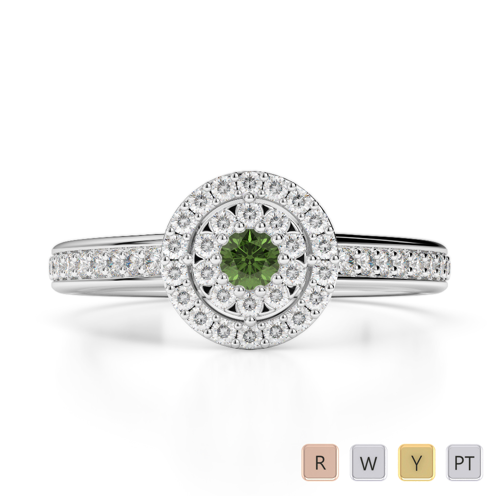 Gold / Platinum Round Cut Green Tourmaline and Diamond Engagement Ring AGDR-1188