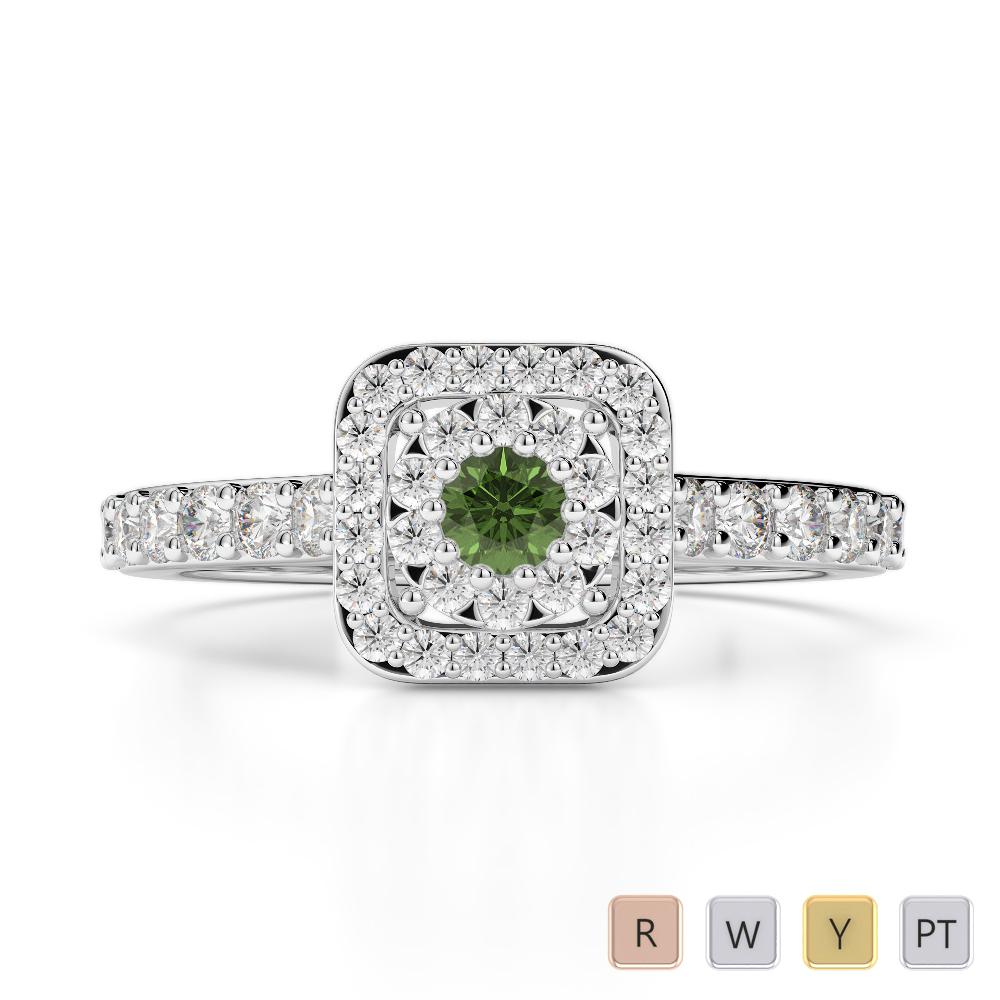 Gold / Platinum Round Cut Green Tourmaline and Diamond Engagement Ring AGDR-1189