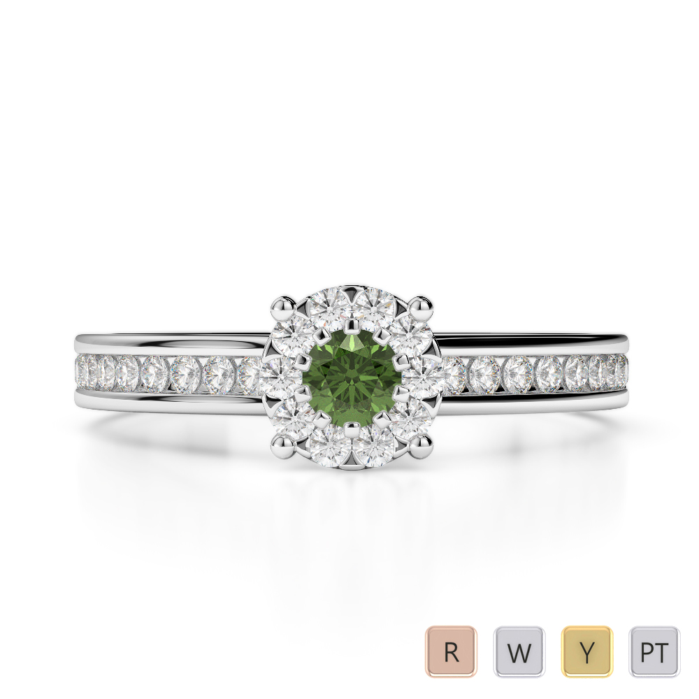 Gold / Platinum Round Cut Green Tourmaline and Diamond Engagement Ring AGDR-1190