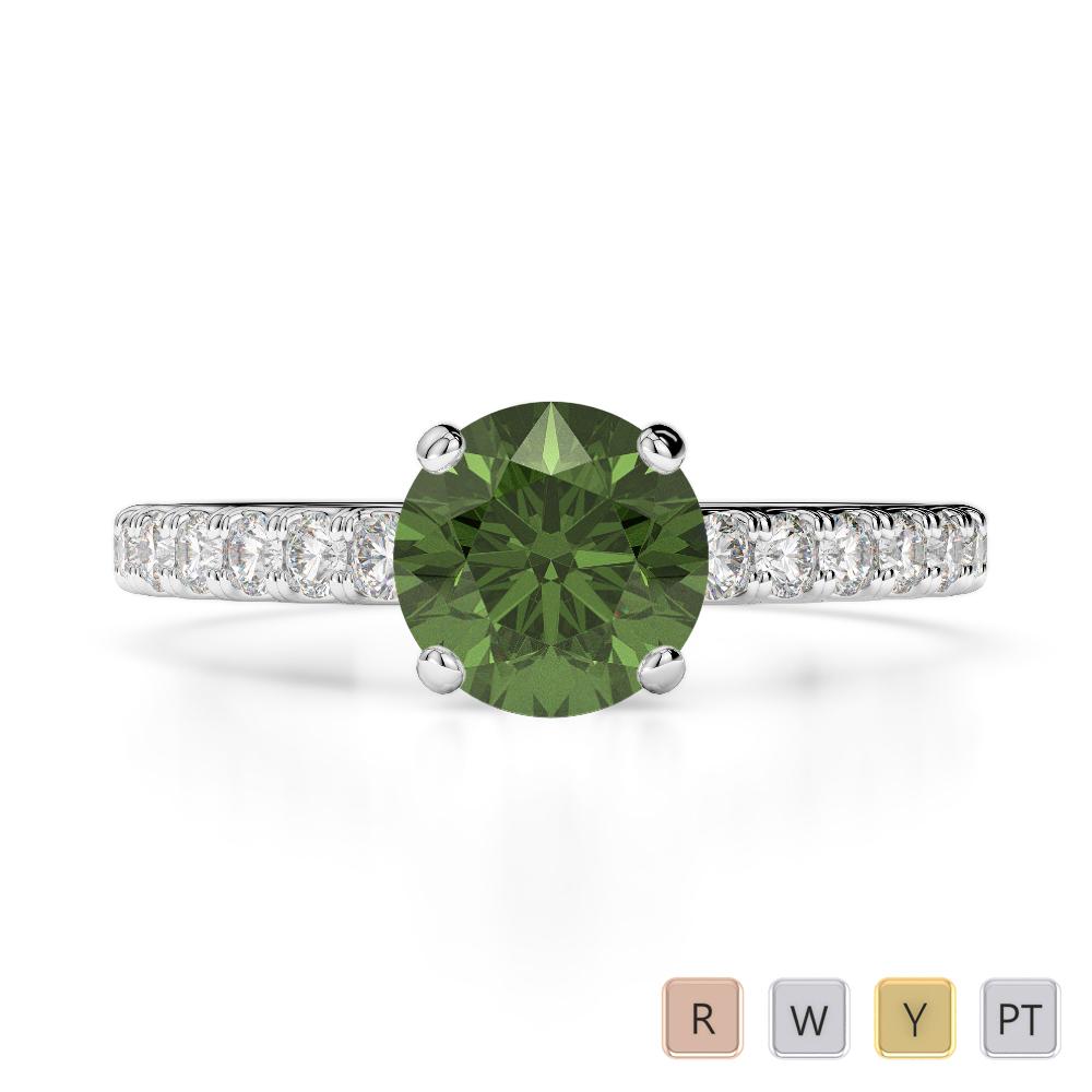 Gold / Platinum Round Cut Green Tourmaline and Diamond Engagement Ring AGDR-1201