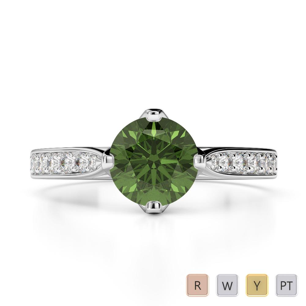 Gold / Platinum Round Cut Green Tourmaline and Diamond Engagement Ring AGDR-1204