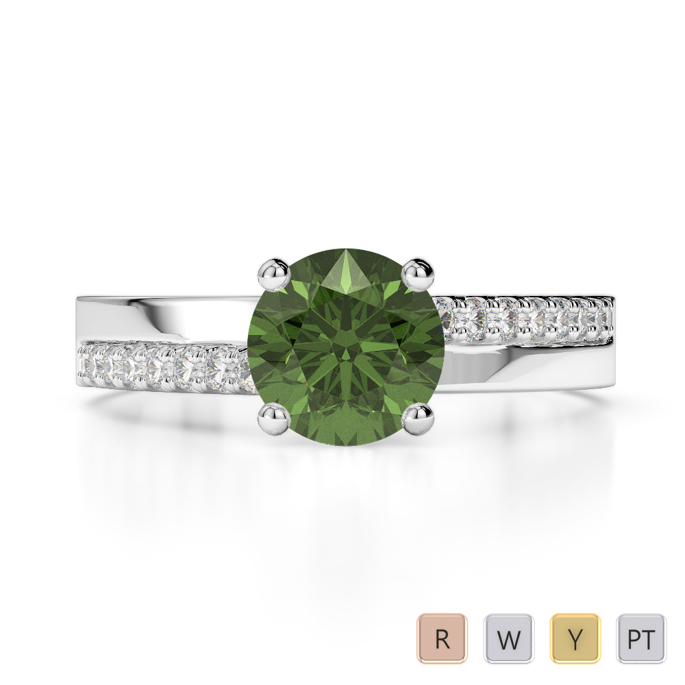 Gold / Platinum Round Cut Green Tourmaline and Diamond Engagement Ring AGDR-1206