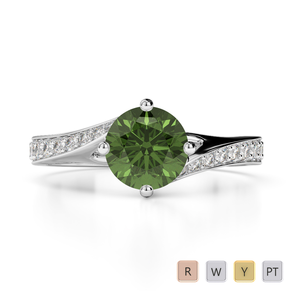 Gold / Platinum Round Cut Green Tourmaline and Diamond Engagement Ring AGDR-1207