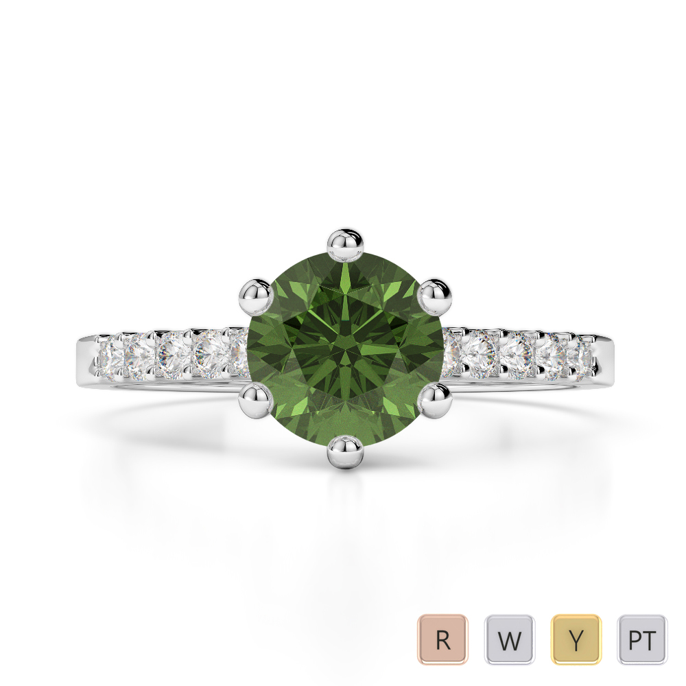 Gold / Platinum Round Cut Green Tourmaline and Diamond Engagement Ring AGDR-1208