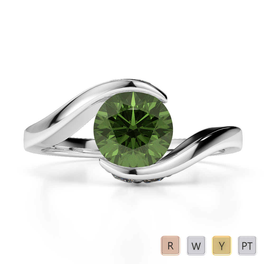 Gold / Platinum Round Cut Green Tourmaline and Diamond Engagement Ring AGDR-1209
